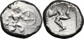 Greek Asia. Pamphylia, Aspendos. AR Stater, circa 465-430 BC. D/ Warrior advancing right, holding shield and spear. R/ Triskeles; EΣ above; all within...
