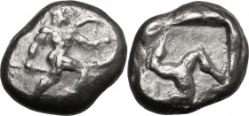 Greek Asia. Pamphylia, Aspendos. AR Stater, c. 465-430 BC. D/ Warrior advancing right, holding spear and shield. R/ Triskeles within incuse square. Cf...