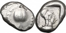 Greek Asia. Pamphylia, Side. AR Stater, c. 460-430 BC. D/ Pomegranate; dotted guilloche border. R/ Head of Athena right, wearing crested Corinthian he...