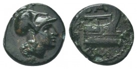 KINGS OF MACEDON. Demetrios I Poliorketes (306-283 BC). Ae. Salamis. Obv: Helmeted head of Athena right. Rev: Prow right; aphlaston to left. SNG Alpha...