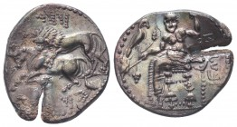 Cilicia, Tarsos AR Stater.Cilicia, Tarsos AR Stater. Mazaios, satrap. 361/0-334 BC. Baaltars seated left, holding eagle, grain ear, grapes, and sceptr...