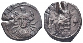Cilicia, Tarsos AR Stater. Balakros, satrap of Cilicia under Alexander III. Circa 333-323 BC. Facing bust of Athena, draped, wearing triple-crested he...
