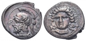 Cilicia, Tarsos AR Stater. Datames, Satrap of Cilicia and Cappadocia. Circa 384-362 BC. Female head (of Arethusa?) facing slightly left / Bearded male...