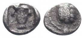 Cilicia, Mallos AR Obol. Circa 440-390 BC. Turtle / Head of female(?) facing; M-AP flanking neck; all within incuse square.   Condition: Very Fine  We...