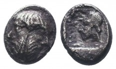 Cilicia, Mallos AR Obol. Circa 440-390 BC. Bearded janiform head / Head (of Bellerophon?) left, wearing cap; MAP before; all in dotted square within i...
