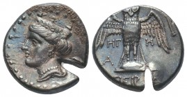 Pontos, Amisos. Ca. 435-370 B.C. AR siglos , magistrate. Head of Hera left, wearing decorated stephanos / [Π]ΕΙΡΑ, owl standing facing, wings spread, ...