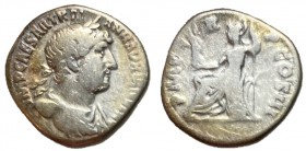 Hadrian, 117 - 138 AD, Silver Denarius, Roma Seated, Unpublished Variant