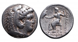 Kings of Macedonia, Alexander III the Great, 336-323 BC, Arados Mint, ca. 328-320 BC. Head of Herakles wearing lion's scalp right Zeus seated left, ho...