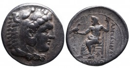 Kings of Macedonia, Alexander III the Great, 336-323 BC, Arados Mint, ca. 324-320 BC. Head of Herakles wearing lion's scalp right Zeus seated left, ho...