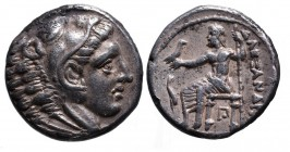 Kings of Macedonia, in the name of Alexander III the Great, 336-323 BC, posthumous issue, Amphipolis Mint, ca. 320-317 BC. Head of Herakles wearing li...