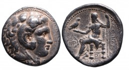 Kings of Macedonia, in the name of Alexander III the Great, 336-323 BC, posthumous issue, Babylon Mint, ca. 317-311 BC. Head of Herakles wearing lion'...