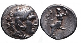 Seleukid Empire, Seleukos I Nikator 312-281 BC, uncertain mint, ca. 282-281 BC. Head of Herakles wearing lion's scalp right Zeus seated right, holding...