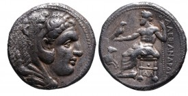 Kings of Macedonia, Alexander III the Great, 336-323 BC, lifetime issue, Damaskos Mint, ca. 330-323 BC. Head of Herakles wearing lion's scalp right Ze...