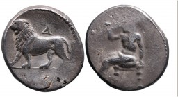 Empire of Alexander III The Great in the East, Babylon Mint, uncertain Satrap, ca. 328-311 BC Baal seated left, holding sceptre; Lion walking left, ab...
