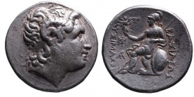 Kings of Thrace, Lysimachos 305-281 BC, lifetime issue, Sardes Mint, ca. 297-287 BC. Diademed head of the deified Alexander the Great right, wearing d...