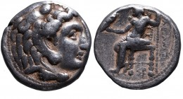 Kings of Macedonia, Alexander III the Great, 336-323 BC, posthumous issue, Carrhae Mint (?), ca. 315-305 BC. Head of Herakles wearing lion's scalp rig...