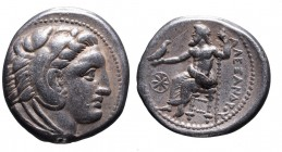 Kings of Macedonia, Alexander III the Great, 336-323 BC, lifetime issue struck under Antipater, Amphipolis Mint, ca. 325-323 BC. Head of Herakles wear...