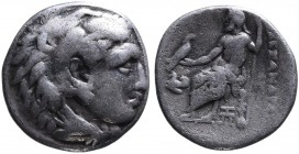 Kings of Macedonia, Alexander III the Great, 336-323 BC, lifetime issue, Abydos Mint, ca. 325-323 BC. Head of Herakles wearing lion's scalp right Zeus...