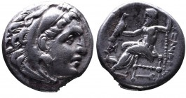 Kings of Macedonia, Alexander III the Great, 336-323 BC, posthumous issue, Abydos Mint, ca. 310-301 BC. Head of Herakles wearing lion's scalp right Ze...