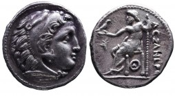 Kings of Macedonia, Alexander III the Great, 336-323 BC, imitative issue of uncertain mint, late IV-early III BC. Head of Herakles wearing lion's scal...
