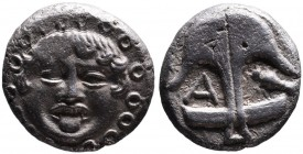 Thrace, Apollonia Pontica, late 5th-4th centuries. Facing gorgoneion; Anchor upright, to the left A, to the right crayfish. SNG Black Sea 157,159-163....