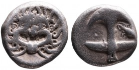 Thrace, Apollonia Pontica, late 5th-4th centuries. Facing gorgoneion; Anchor upright, to the right crayfish SNG Black Sea 150-152. Charming Gorgona's ...