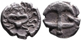 Thrace, Apollonia Pontica, late 5th-4th centuries. Facing gorgoneion; Anchor upright, to the right crayfish. SNG Black Sea 150-152.Some earthen sedime...