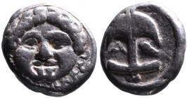 Thrace, Apollonia Pontica, late 5th-4th centuries. Facing gorgoneion; Anchor upright, to the left A, to the right crayfish SNG Black Sea 157,159-163. ...