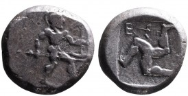 Pamphilia, Aspendos, ca. 460-430 BC Hoplite with spear and shield advancing right; Triskeles with human legs within incuse square, E_. SNG COP 153-155...