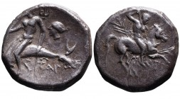 Calabria, Tarentum, Magistrate Aristokles, ca. 272-235 BC. Nude warrior with spear, shield and two javelins riding horseback right, behind _I, below h...