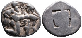 Islands off Thrace, Thasos, ca. 525-463 BC. Nude Satyr abducting struggling nymph right; Quadripartite incuse square. SNG COP 1007-1012. Very fine. Si...