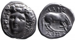 Thessaly, Larissa, ca. 395-344 BC Head of nymph Larissa, facing but slightly to left; Grazing horse right. Above and below _API_AIᄑN. SNG COP 120-122....