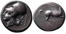 Akarnania, Leukas, ca. 400-330 BC. Pegasus flying right, below _; Head of Athena in corinthian helmet left, behind head _ and caduceus BMC 56.Toned. E...
