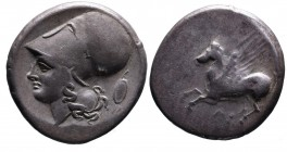 Akarnania, Argos Amphilochikon, ca. 330-280 BC. Pegasus flying left, below A; Head of Athena in corinthian helmet left, behind head oval shield with s...