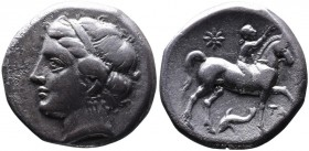 Calabria, Tarentum, Campano-Tarentine coinage, ca. 281-272 BC. Diademed head of nymph Satyra left  Youth on the horse walking right, crowning horse's ...