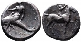 Calabria, Tarentum, Magistrates Arethon-, Sa- and Cas-, ca. 302-280 BC. Nude youth on the horse walking right, crowning horse's head, above _A, below ...