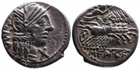 M. Fannius C.f., Rome Mint, 123 BC. Helmeted head of Roma right, behind ROMA, below chin X; Victoria holding wreath, driving galloping quadriga right,...