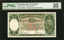AUSTRALIA. Commonwealth of Australia. 1 Pound, ND (1933-38). P-22. PMG Choice Very Fine 35.