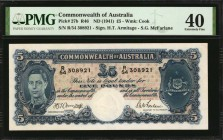 AUSTRALIA. Commonwealth of Australia. 5 Pounds, ND (1941). P-27b. PMG Extremely Fine 40.