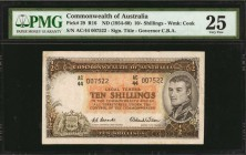 AUSTRALIA. Commonwealth of Australia. 10 Shillings, ND (1954-60). P-29. PMG Very Fine 25.