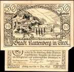 AUSTRIA. Rottenberg. 40 & 50 Heller, 1920. P-Unlisted. Original Artwork. Very Fine.