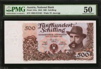 AUSTRIA. National Bank. 500 Schilling, 1953. P-134a. PMG About Uncirculated 50.