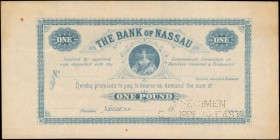 BAHAMAS. Bank of Nassau. 1 Pound, ND (1870's). P-A4A. Specimen. Extremely Fine.