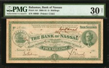 BAHAMAS. Bank of Nassau. 4 Shillings, 1906-16. P-A8. PMG Very Fine 30 Net. Rust, Small Hole.
