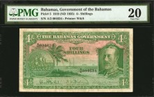 BAHAMAS. Government of the Bahamas. 4 Shillings, 1919 (ND 1935). P-5. PMG Very Fine 20.