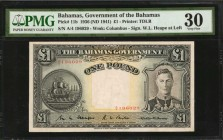 BAHAMAS. Government of the Bahamas. 1 Pound, 1936 (ND 1941). P-11b. PMG Very Fine 30.