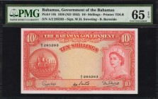 BAHAMAS. Government of the Bahamas. 10 Shillings, 1936 (ND 1953). P-14b. PMG Gem Uncirculated 65 EPQ.