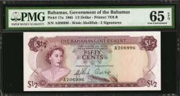 BAHAMAS. Government of the Bahamas. 1/2 Dollar, 1965. P-17a. PMG Gem Uncirculated 65 EPQ.
