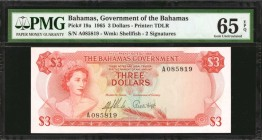 BAHAMAS. Government of the Bahamas. 3 Dollars, 1965. P-19a. PMG Gem Uncirculated 65 EPQ.