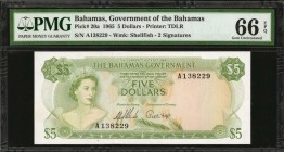 BAHAMAS. Government of the Bahamas. 5 Dollars, 1965. P-20a. PMG Gem Uncirculated 66 EPQ.